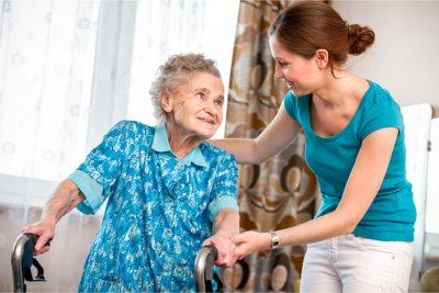 Staff supporting the elder patient